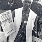 Sister Clara Varnada of Detroit with copies of <em>Bilalian News</em>, 1975. Photo by Shedrick El-Amin.