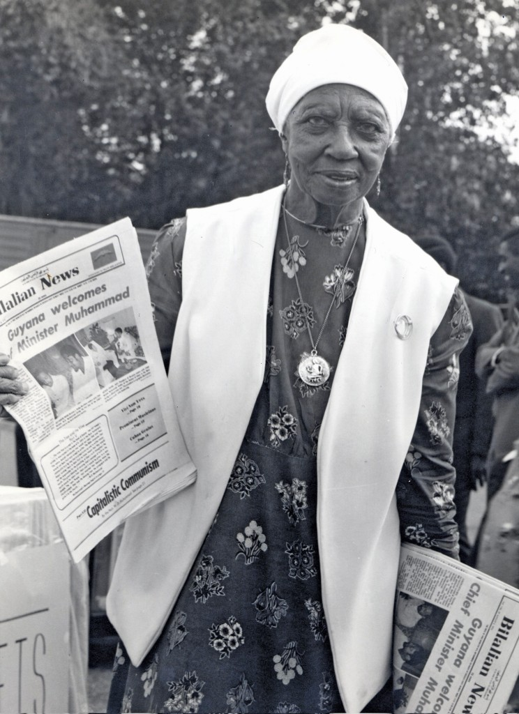 Sister Clara Varnada of Detroit with copies of Bilalian News, 1975. Photo by Shedrick El-Amin.