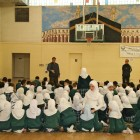 Kids gather for noon prayer, Muslim American Youth Academy, Islamic Center of America.