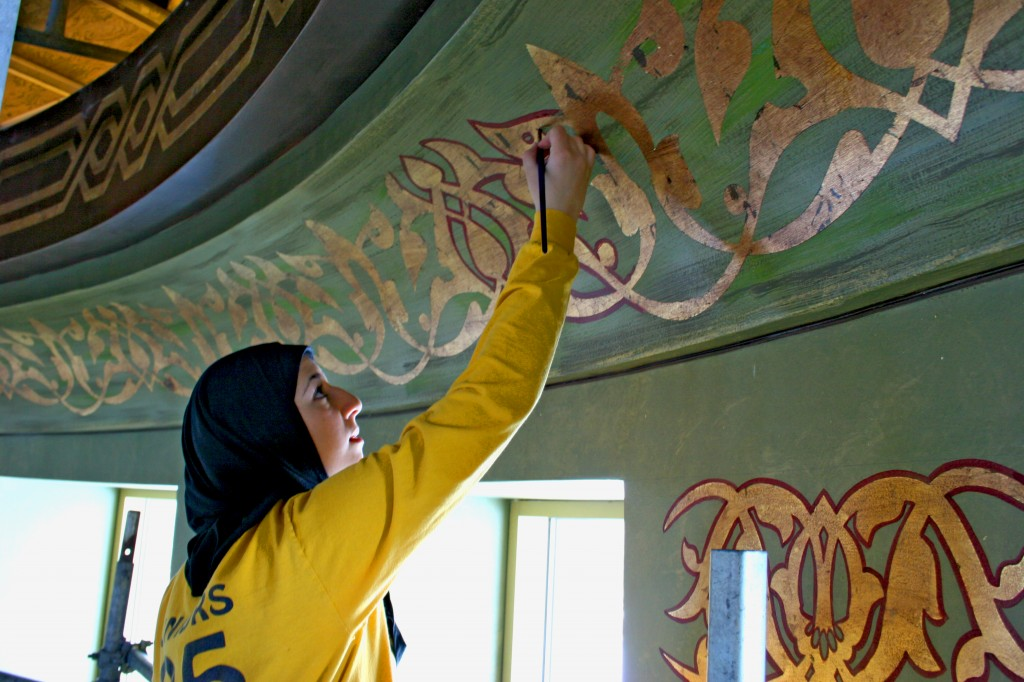 Decorating the dome, Islamic Center of America. Photo by Sally Howell.