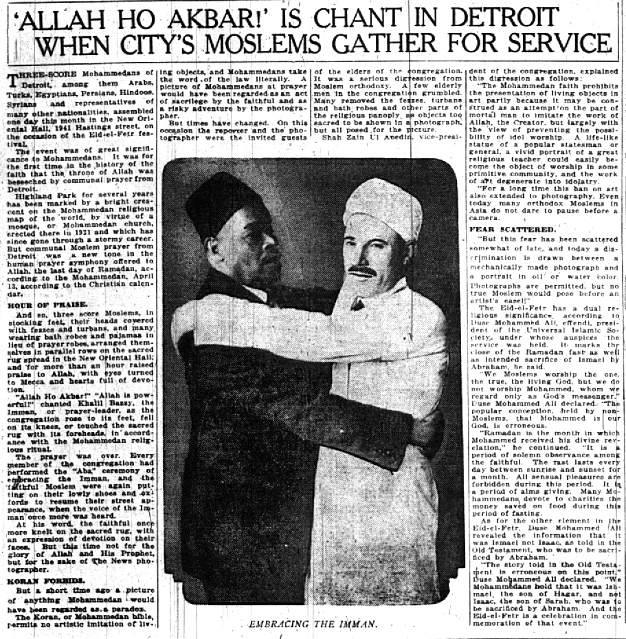 Imam Khali Bazzy (right) embraces Duse Mohammed Ali at Eid al-Fitr services, 1927. Detroit Free Press.
