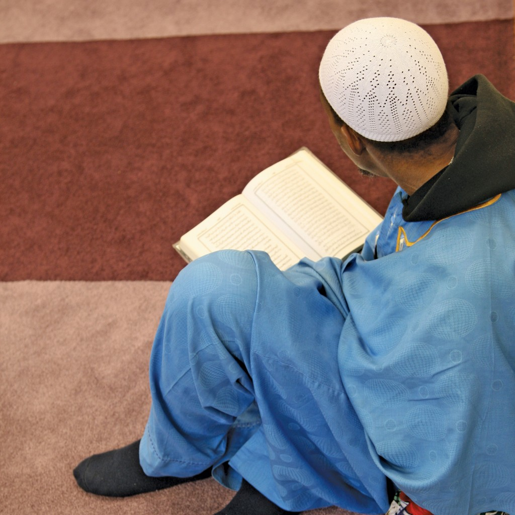 Reading the Quran before prayers, University Islamic Center of Detroit.