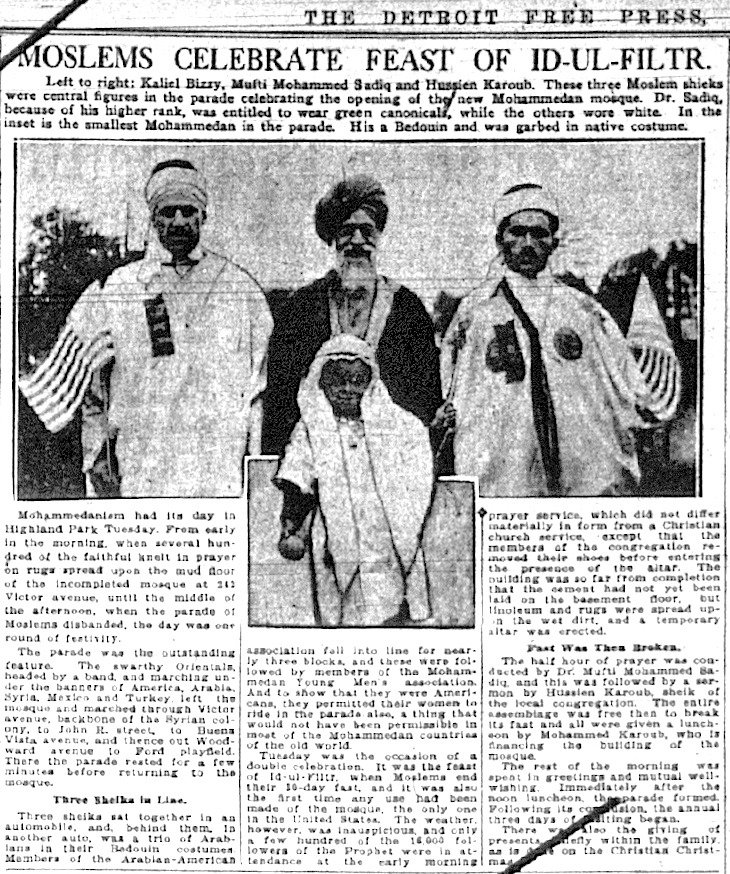 Local imams celebrate the opening of the Highland Park Mosque, 1921. Detroit Free Press.