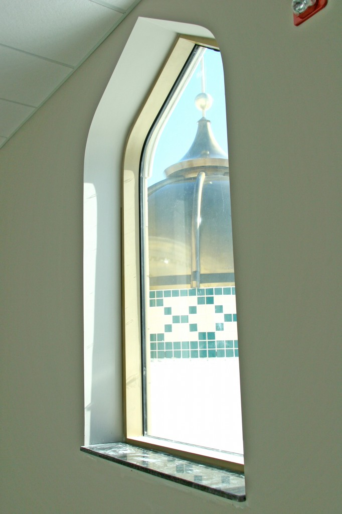 Window with view of dome, Islamic Center of America.